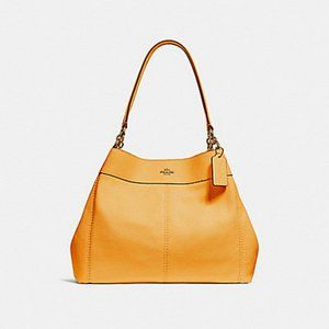 New Coach Lexy Pebbled Leather Shoulder Bag Yellow